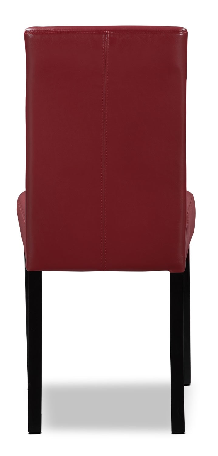 red faux leather accent dining chair united furniture