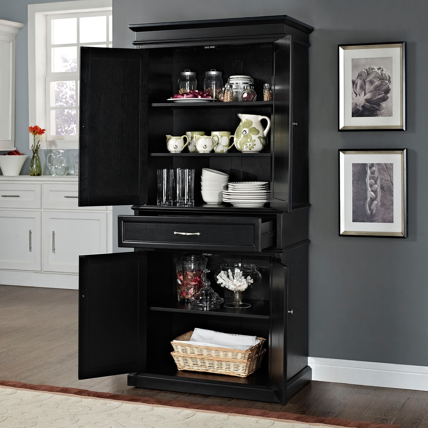 Midway Pantry Black Value City Furniture