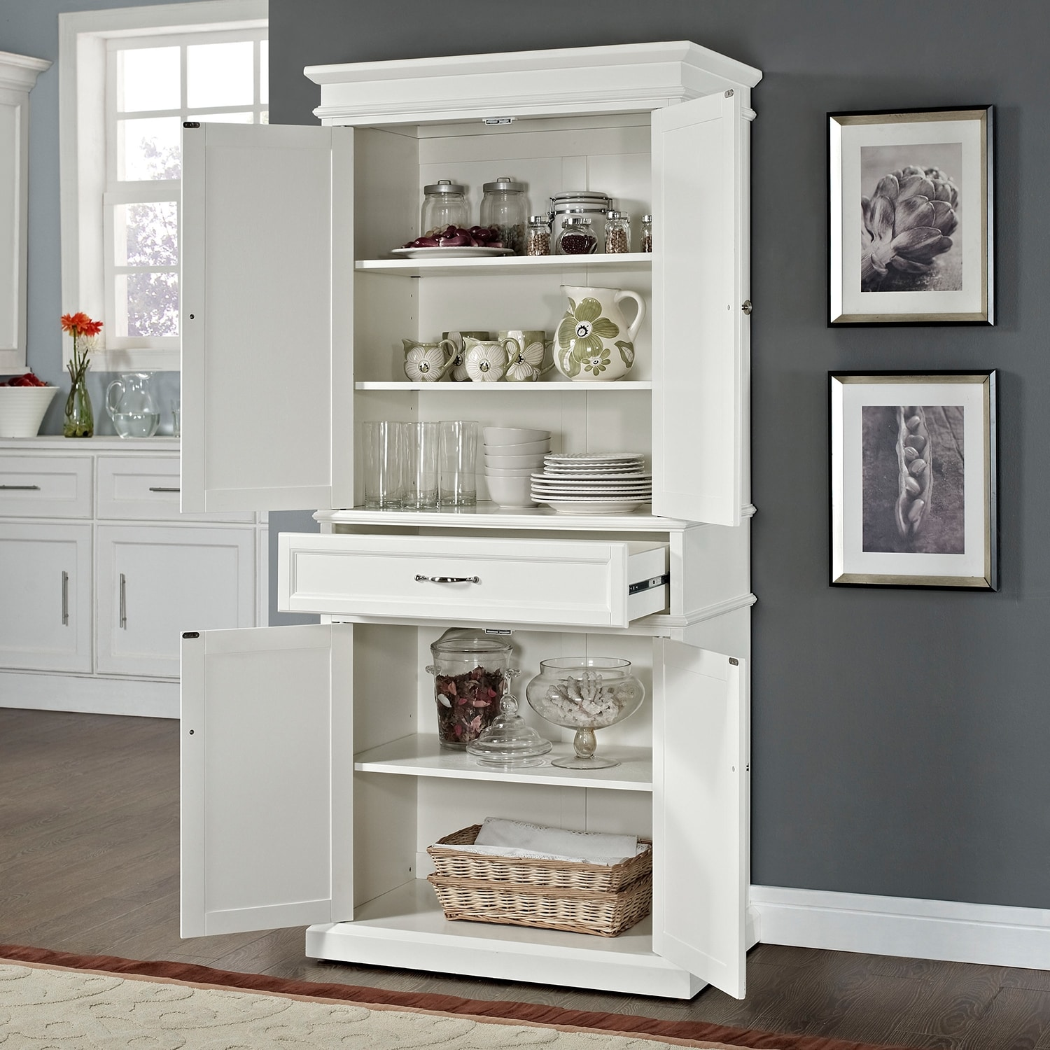 Midway Pantry White Value City Furniture
