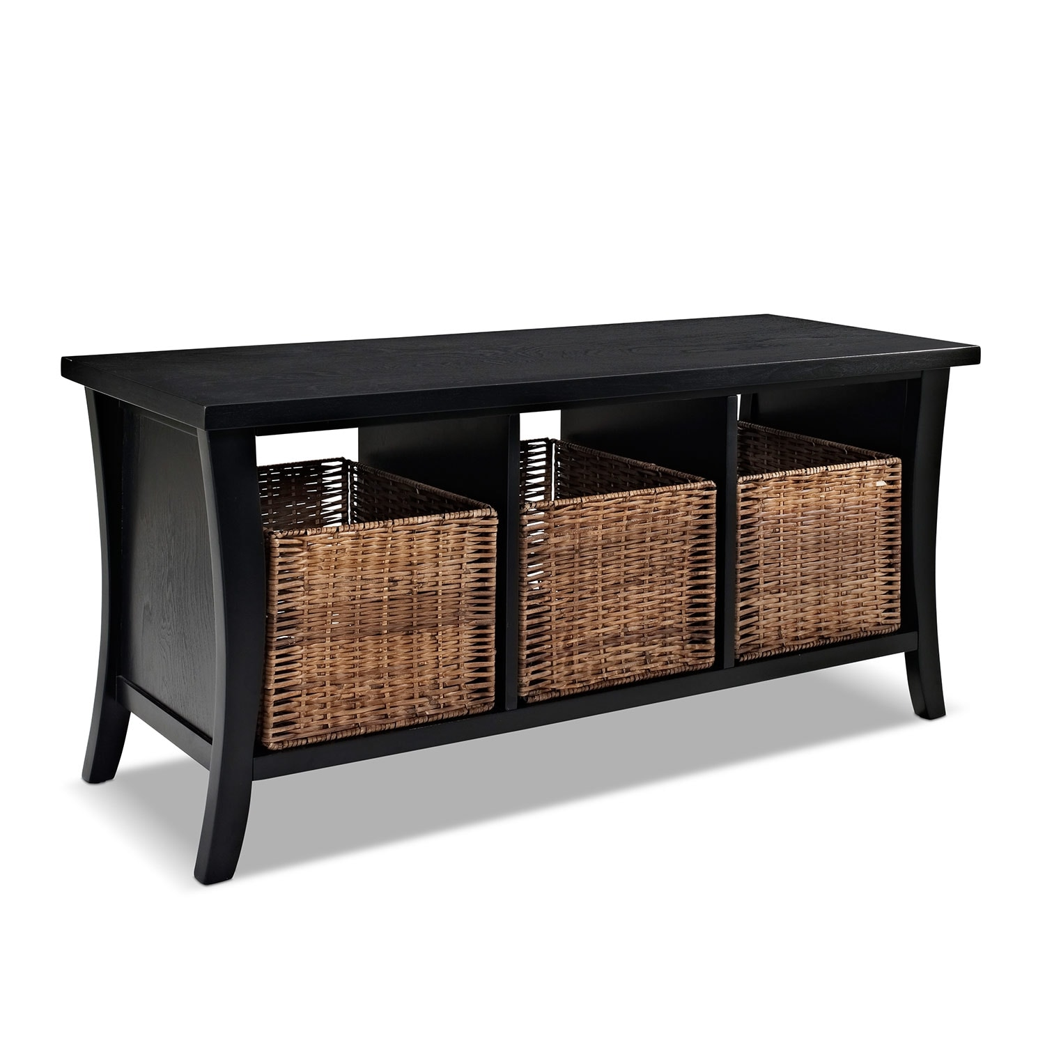 Mae Black Entryway Storage Bench American Signature