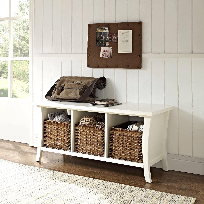 White Hallway Storage Furniture: Mae White Entryway Storage Bench