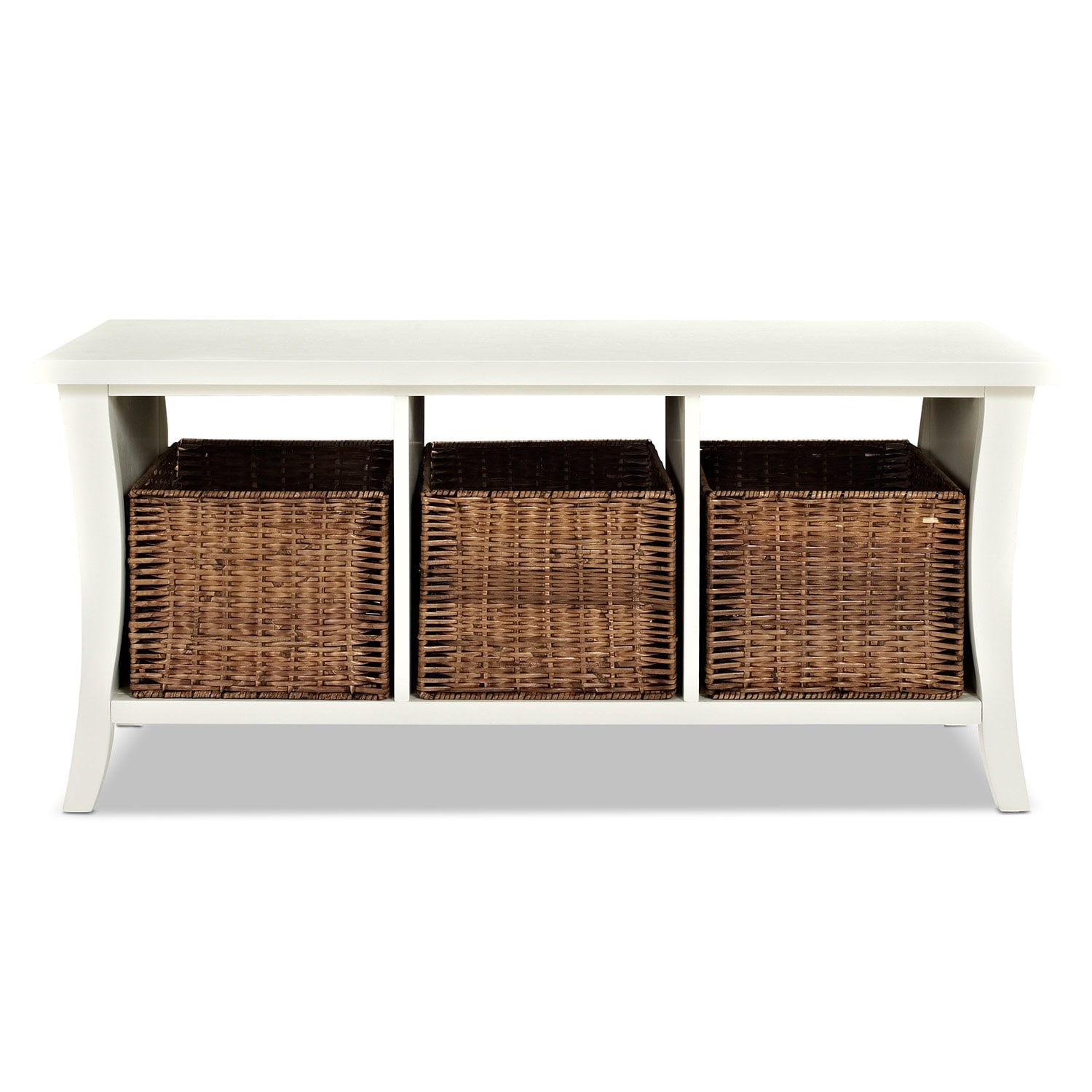 Mae White Entryway Storage Bench Value City Furniture