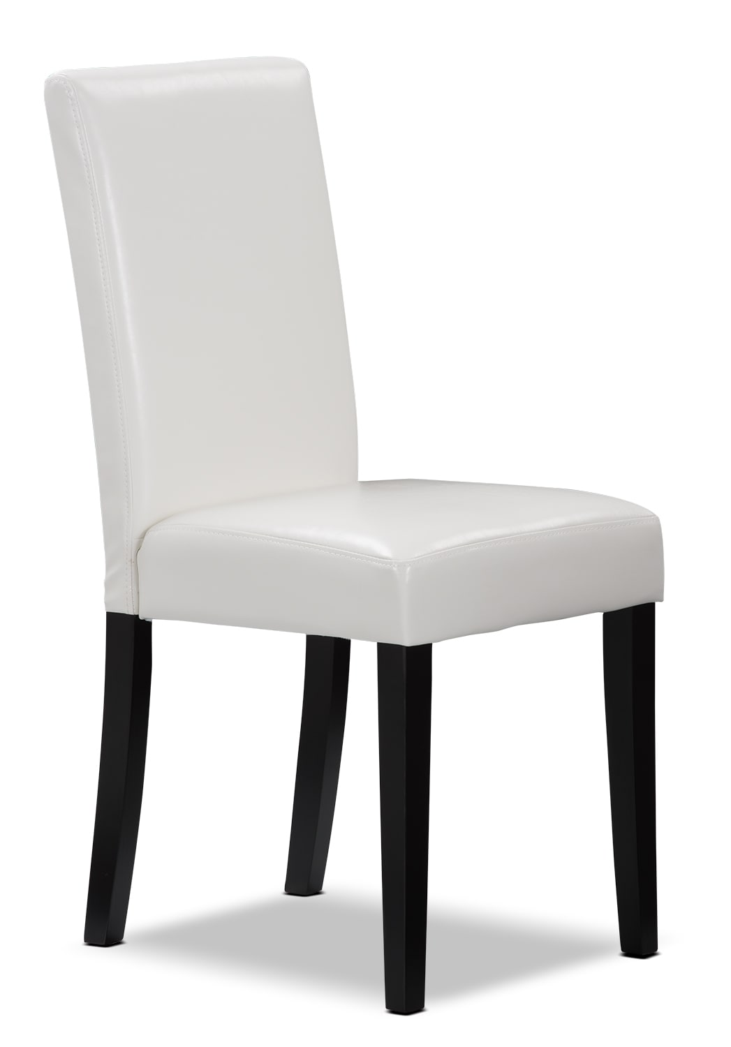White faux leather accent dining chair united furniture for Faux leather dining chairs