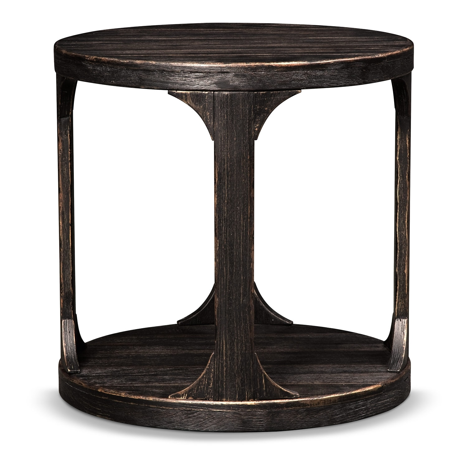 Prentice round end table weathered black value city for Black round end table