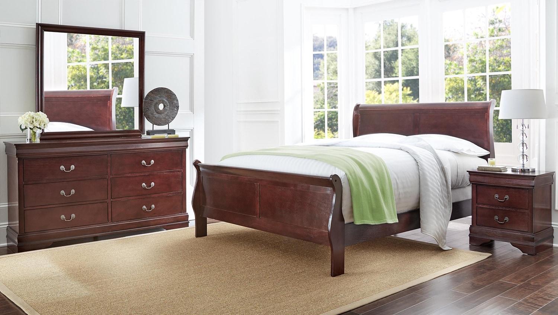 Bedroom Furniture - Belleview 6-Piece Queen Bedroom Package - Cherry