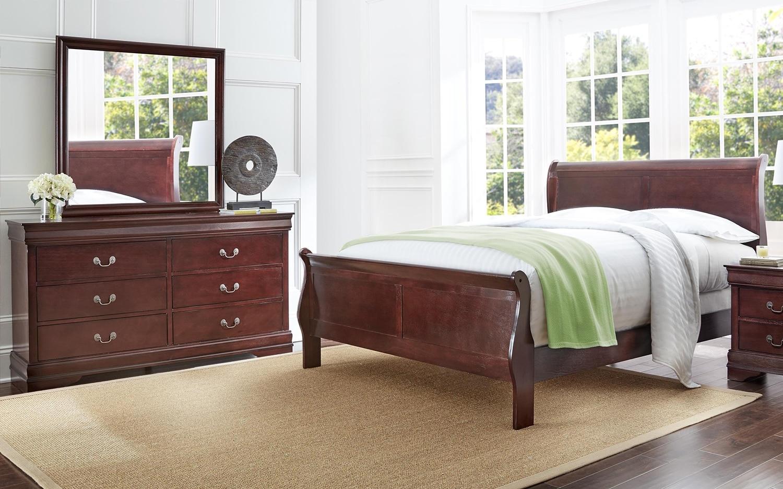Bedroom Furniture - Belleview 5-Piece King Bedroom Package - Cherry