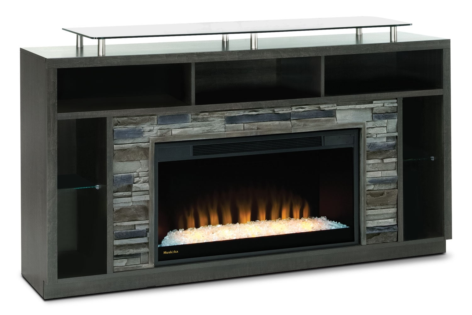 Entertainment Furniture Arlington 71 Tv Stand With Glass Ember Firebox Anthracite