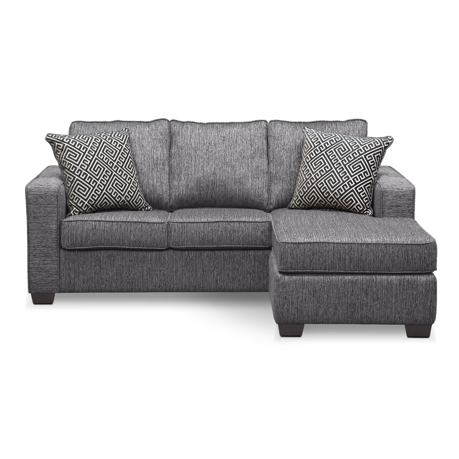Sterling Innerspring Sleeper Sofa With Chaise Charcoal Value City Furniture