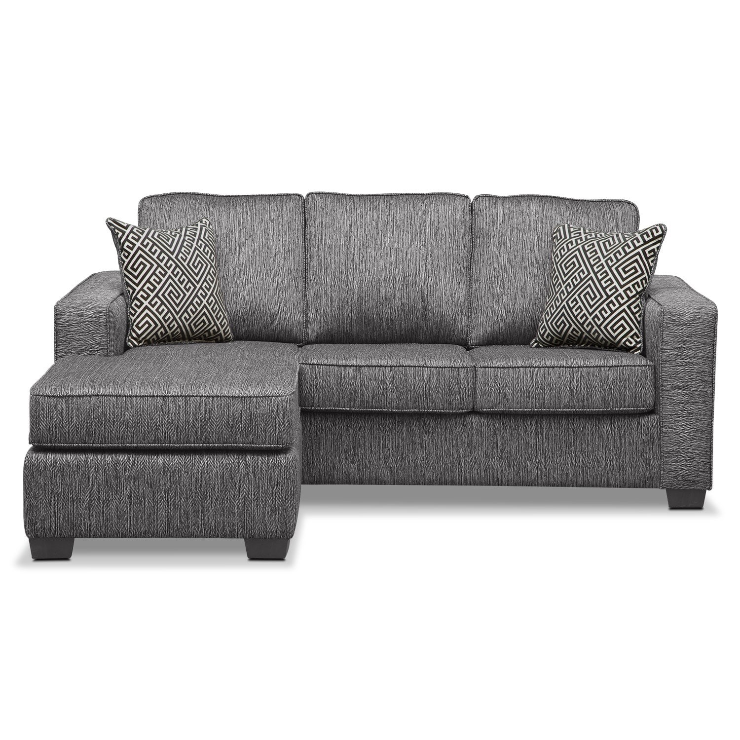 Sterling innerspring sleeper sofa with chaise charcoal for Chaise furniture sale