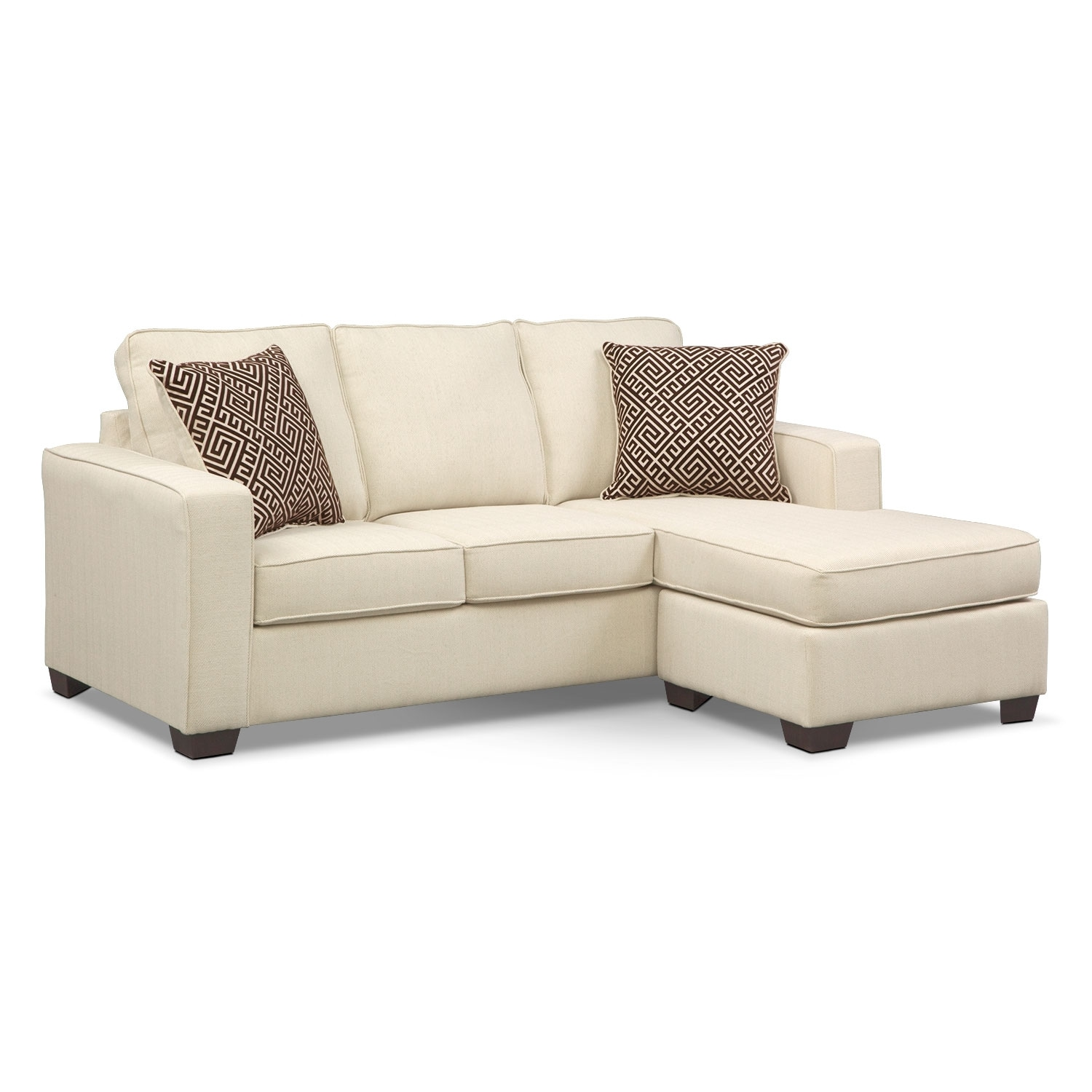 Sterling beige queen memory foam sleeper sofa w chaise for Chaise and ottoman