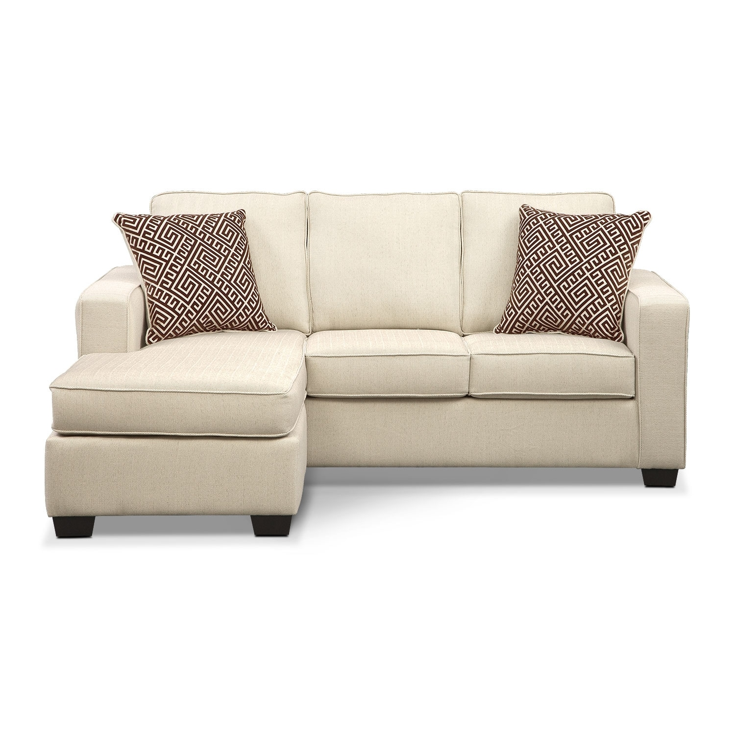 Sterling innerspring sleeper sofa with chaise beige for Beige sectional with chaise