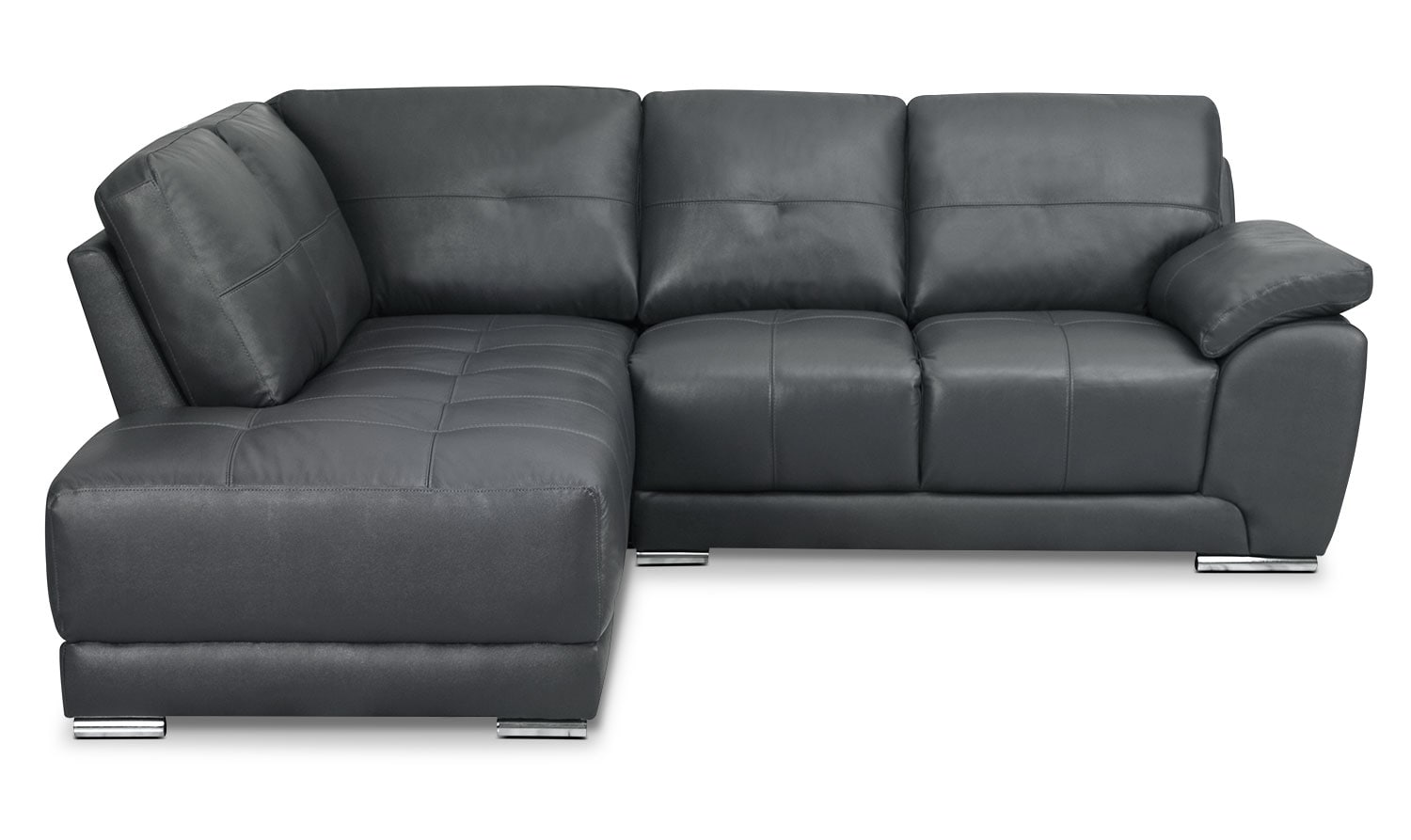 Living Room Furniture - Rylee 2-Piece Genuine Leather Left-Facing Sectional - Grey