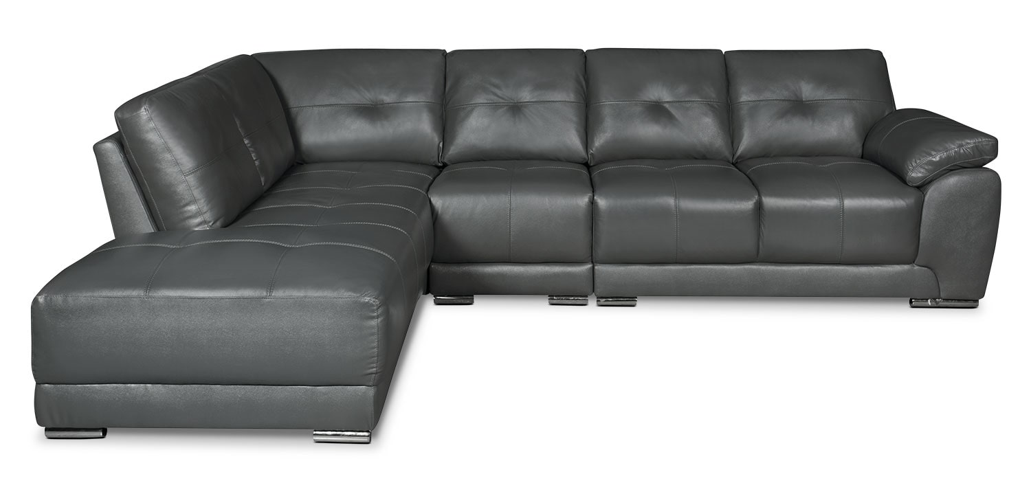 Living Room Furniture - Rylee 3-Piece Genuine Leather Left-Facing Sectional - Grey