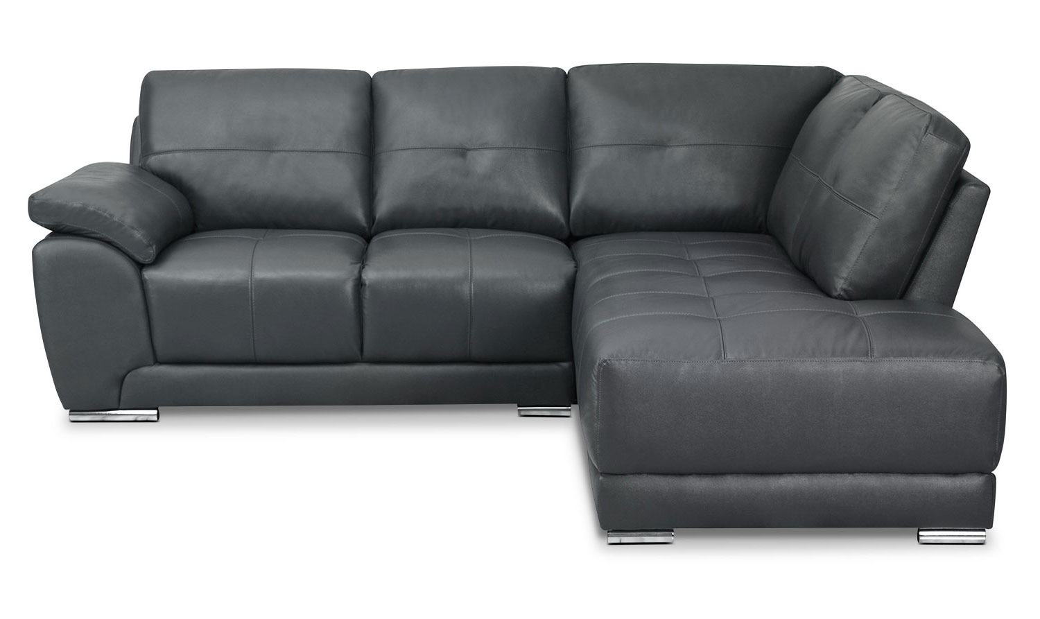 rylee 2 piece genuine leather right facing sectional grey the brick. Black Bedroom Furniture Sets. Home Design Ideas