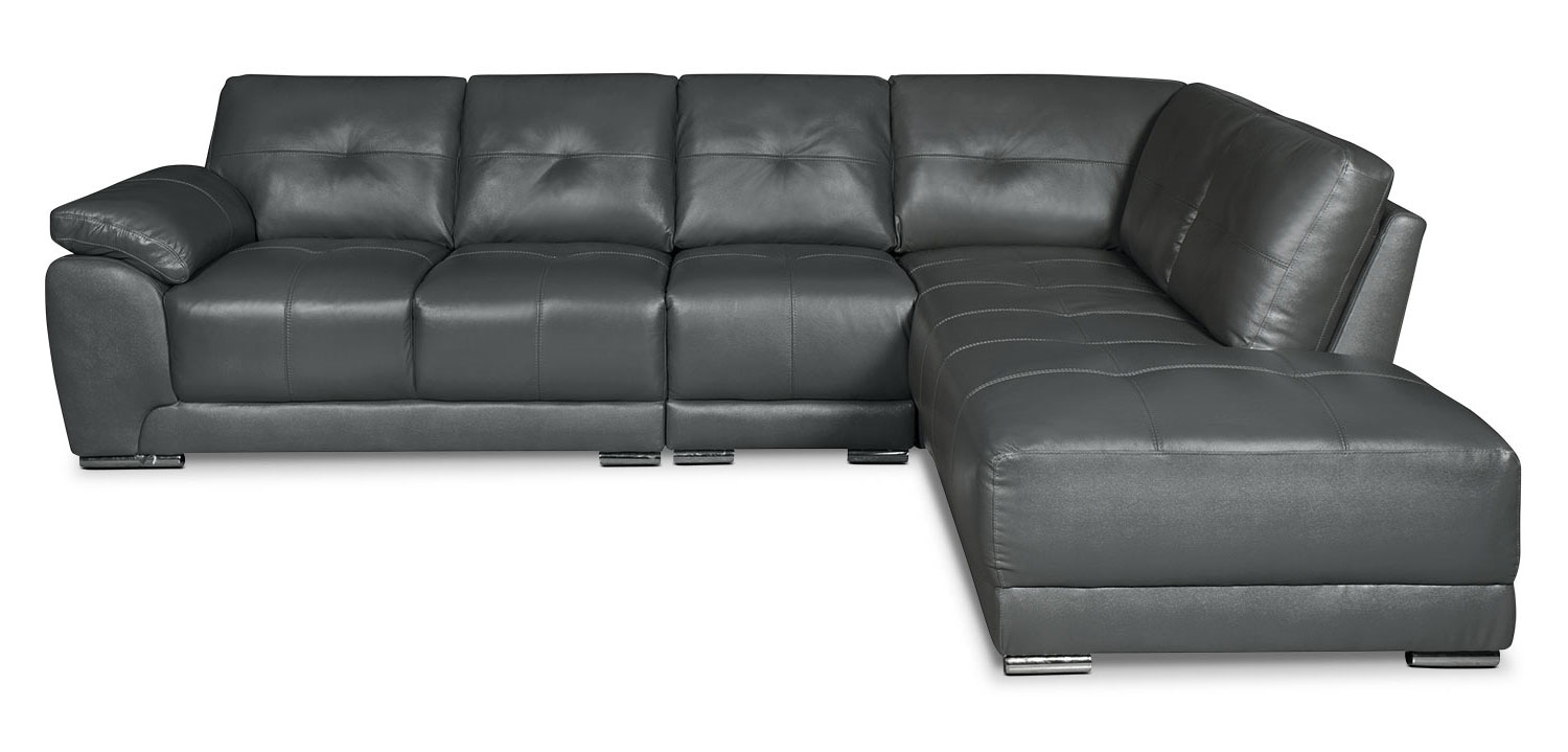 Living Room Furniture - Rylee 3-Piece Genuine Leather Right-Facing Sectional - Grey