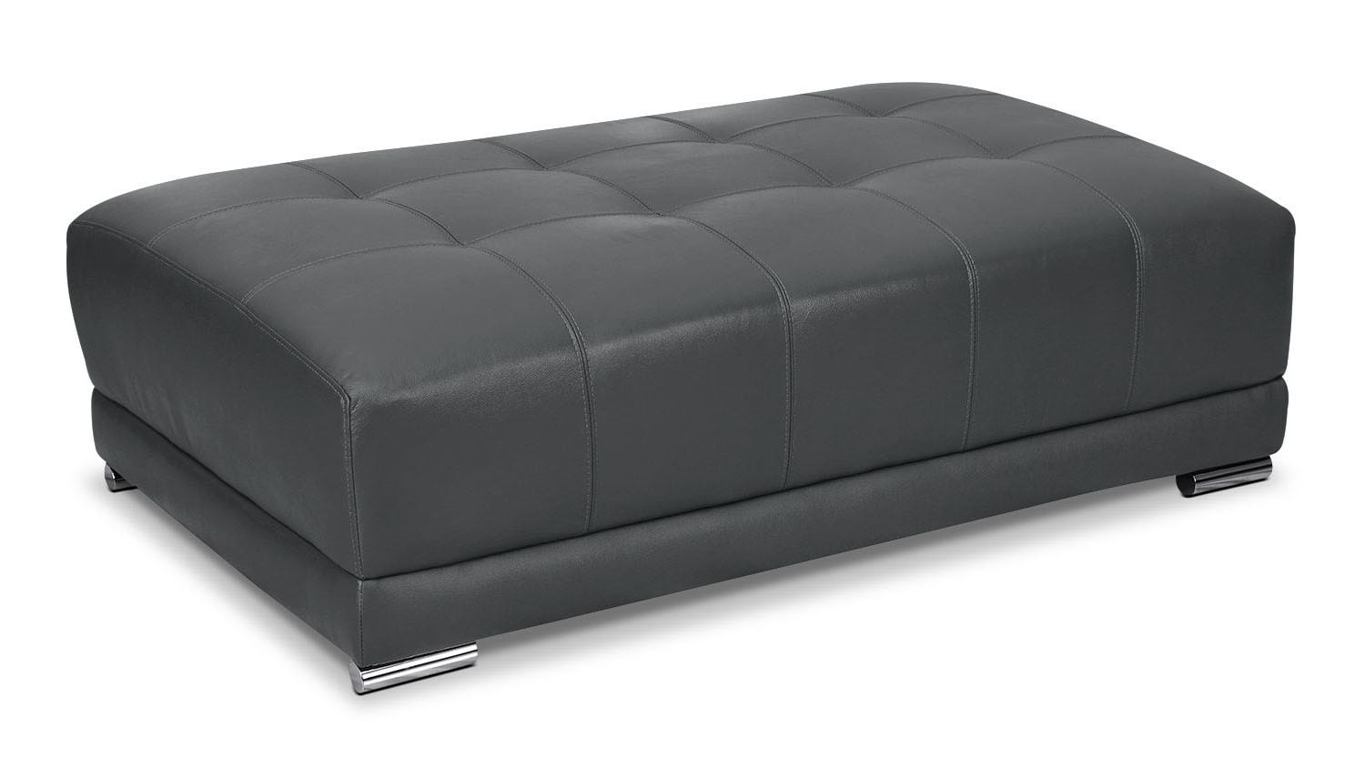 Living Room Furniture - Rylee Genuine Leather Ottoman - Grey