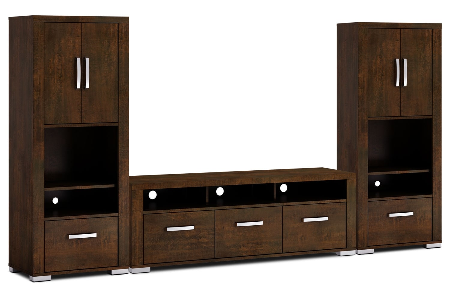 "Entertainment Furniture - Allendale 3-Piece Entertainment Centre with 64"" TV Opening and Closed Piers - Java"