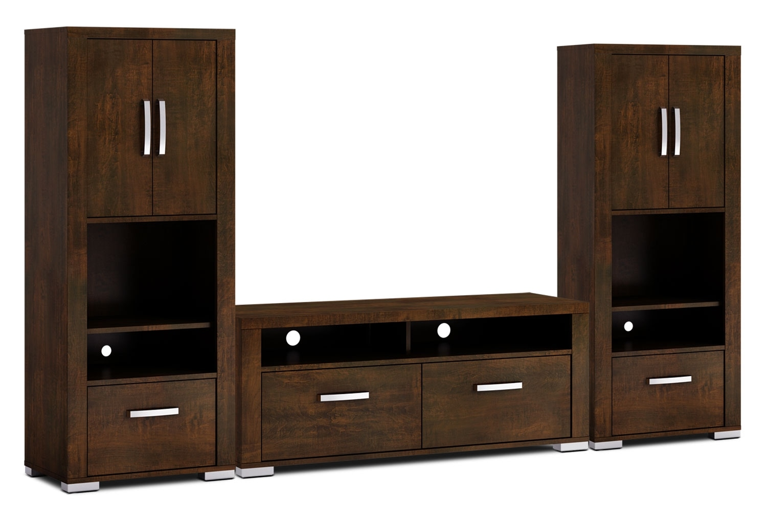 "Entertainment Furniture - Allendale 3-Piece Entertainment Centre with 56"" TV Opening and Closed Piers - Java"