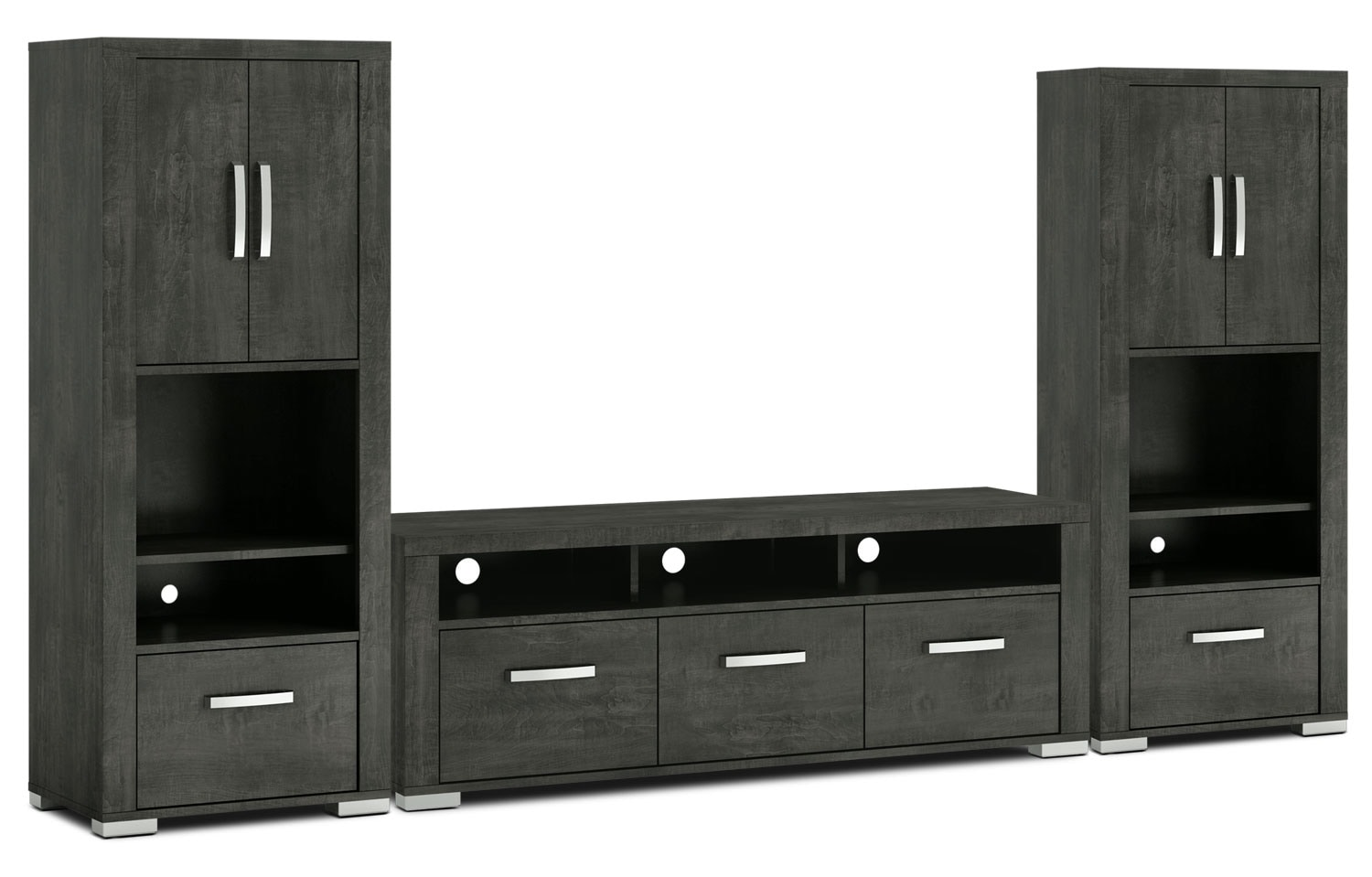 "Entertainment Furniture - Allendale 3-Piece Entertainment Centre with 64"" TV Opening and Closed Piers - Anthracite"
