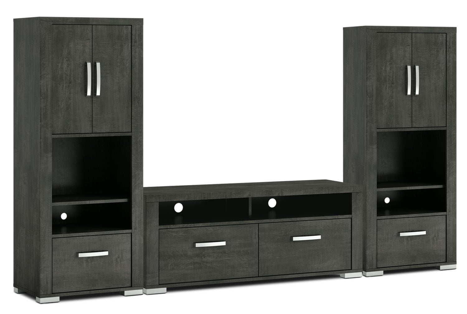 "Entertainment Furniture - Allendale 3-Piece Entertainment Centre with 56"" TV Opening and Closed Piers - Anthracite"