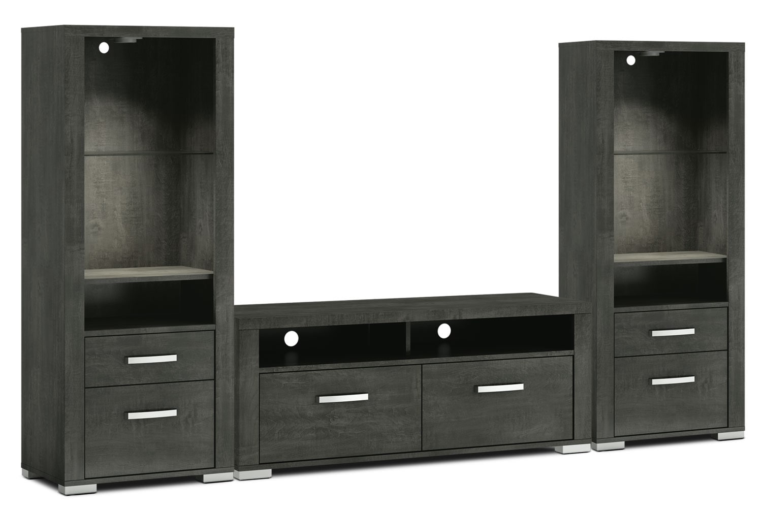 "Entertainment Furniture - Allendale 3-Piece Entertainment Centre with 56"" TV Opening and Open Piers - Anthracite"