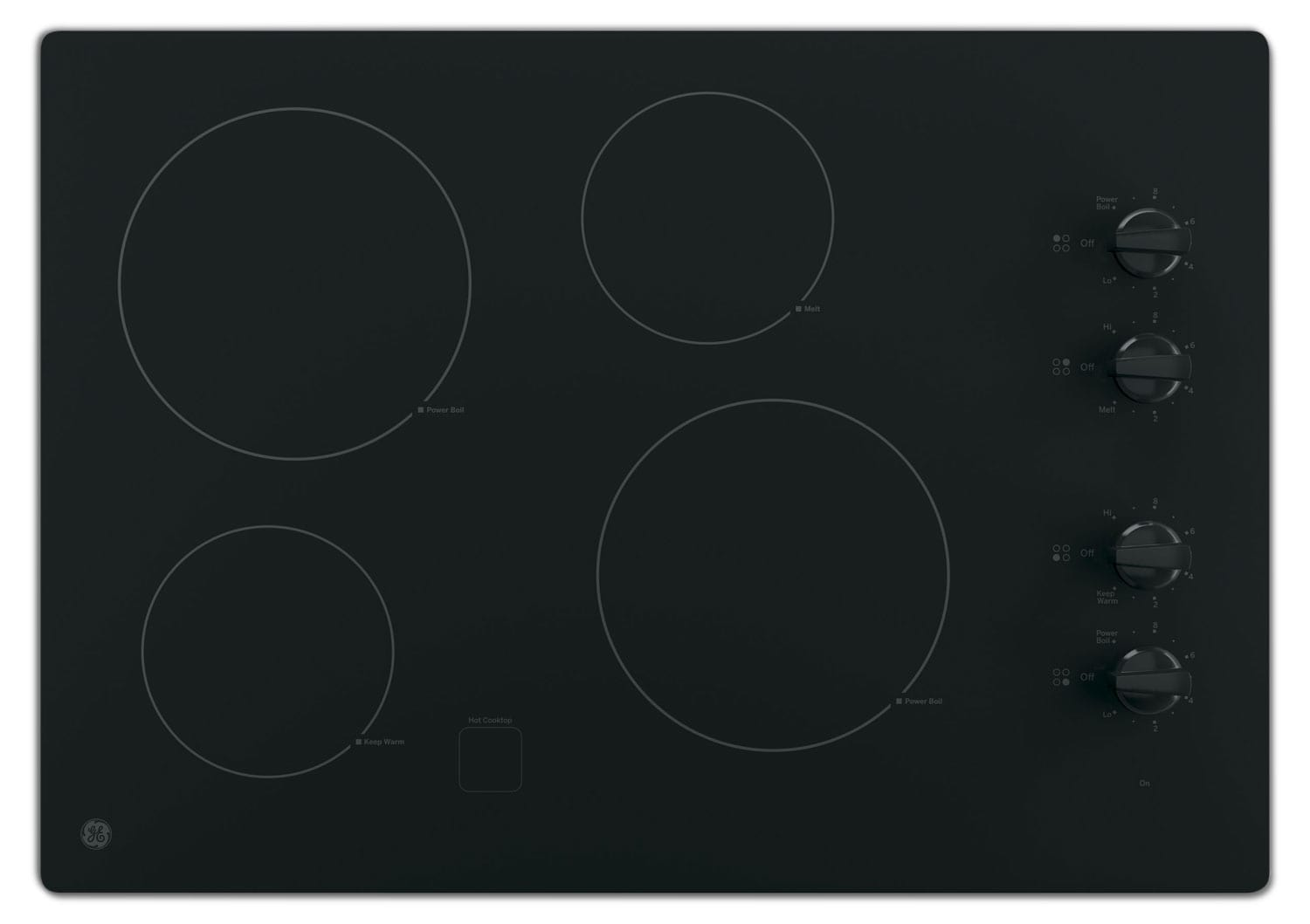 "Cooking Products - GE 30"" Electric Cooktop with Built-In Knob-Control - Black"