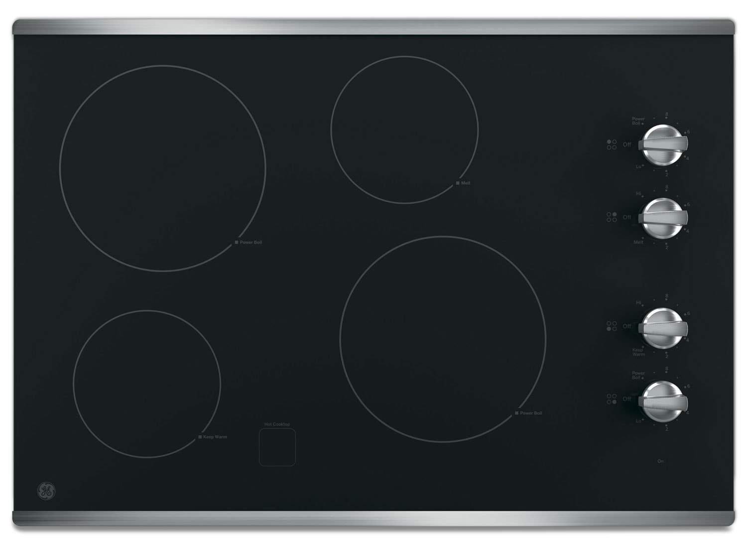 "GE 30"" Electric Cooktop with Built-In Knob-Control - Stainless Steel"