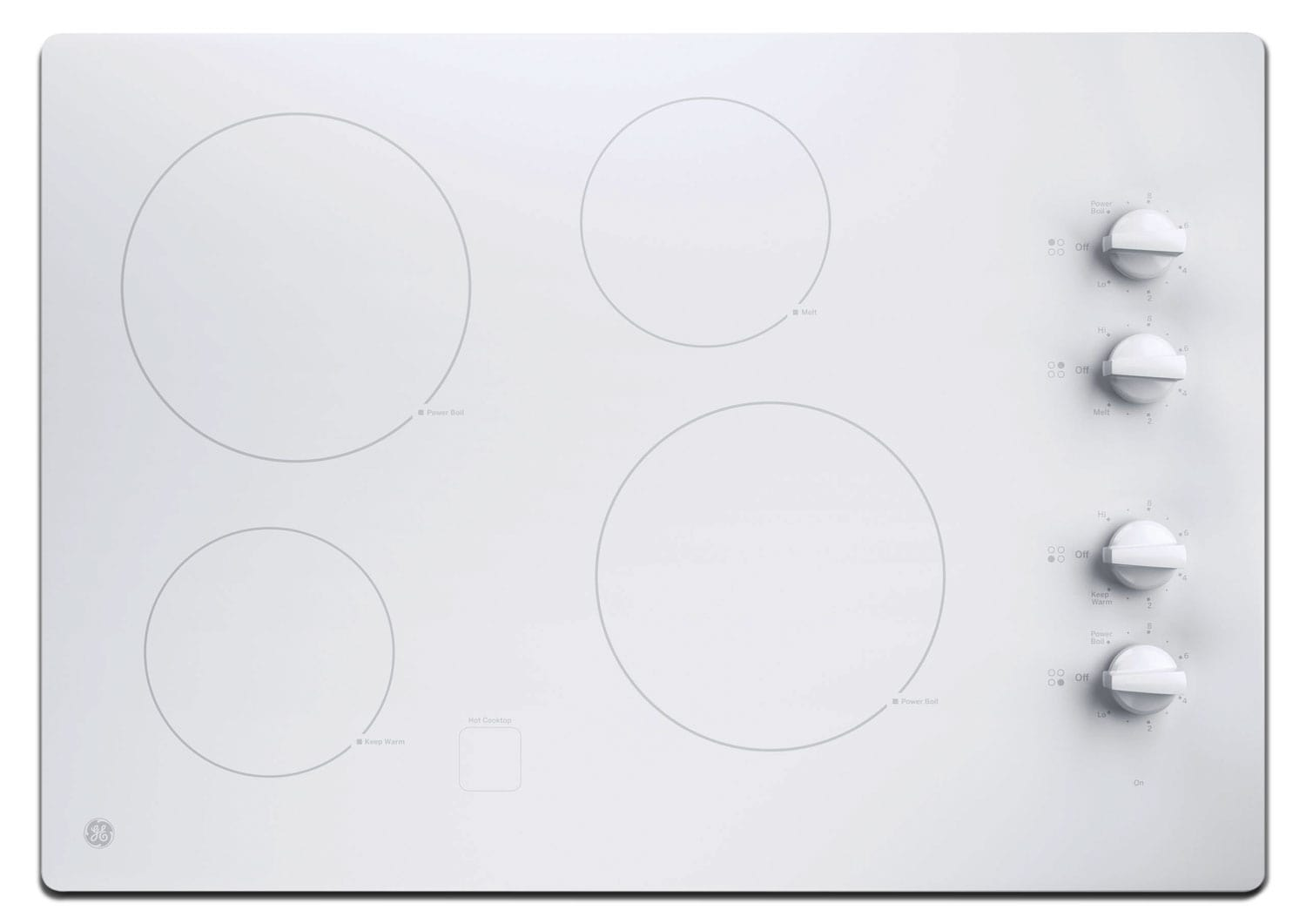 "GE 30"" Electric Cooktop with Built-In Knob-Control - White"