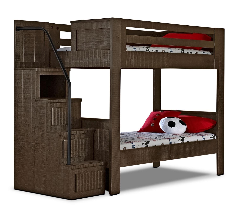 Kids Furniture - Phoenix Walnut Twin Staircase Bunk Bed