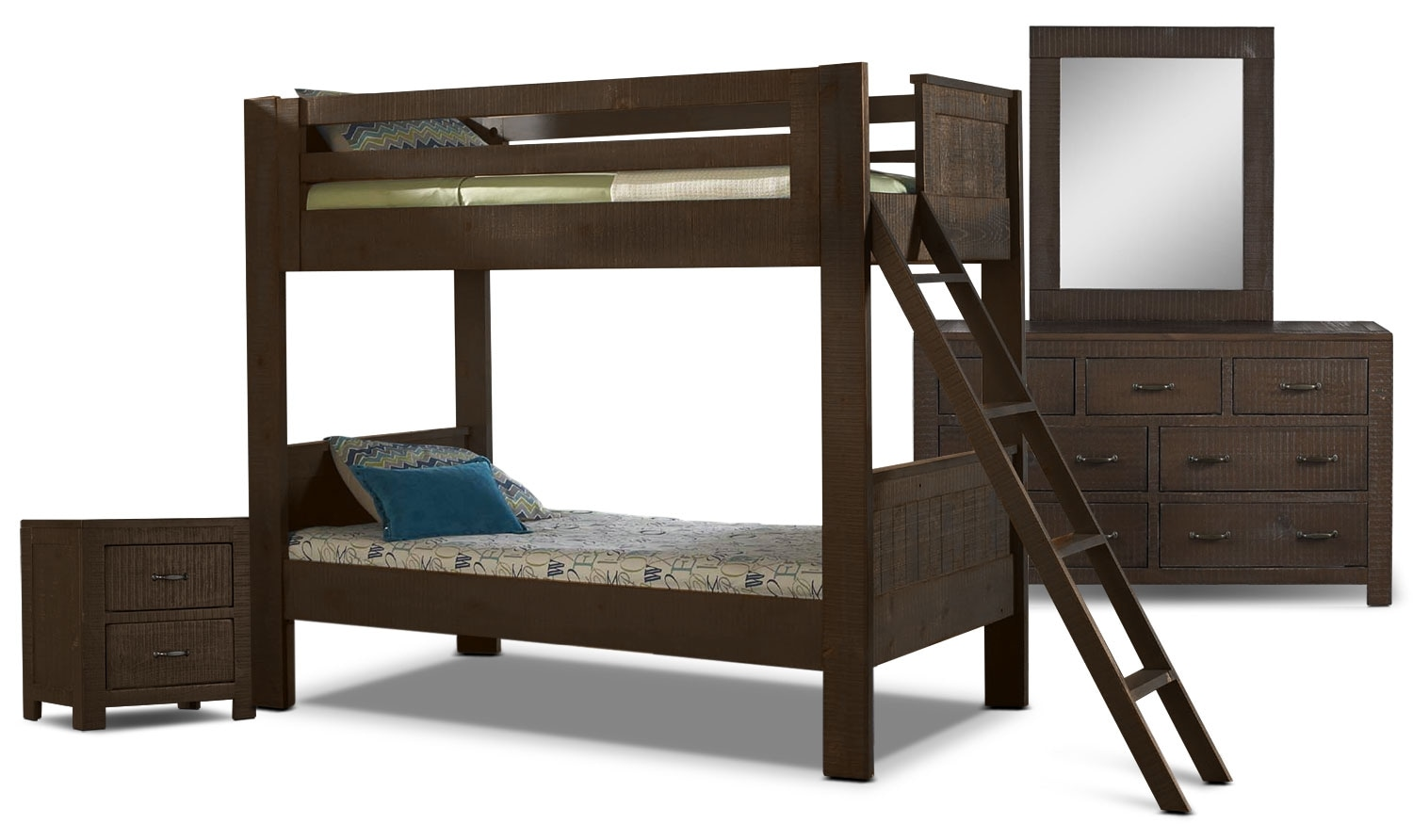 Kids Furniture - Phoenix 6-Piece Twin Bunkbed Bedroom Package - Walnut