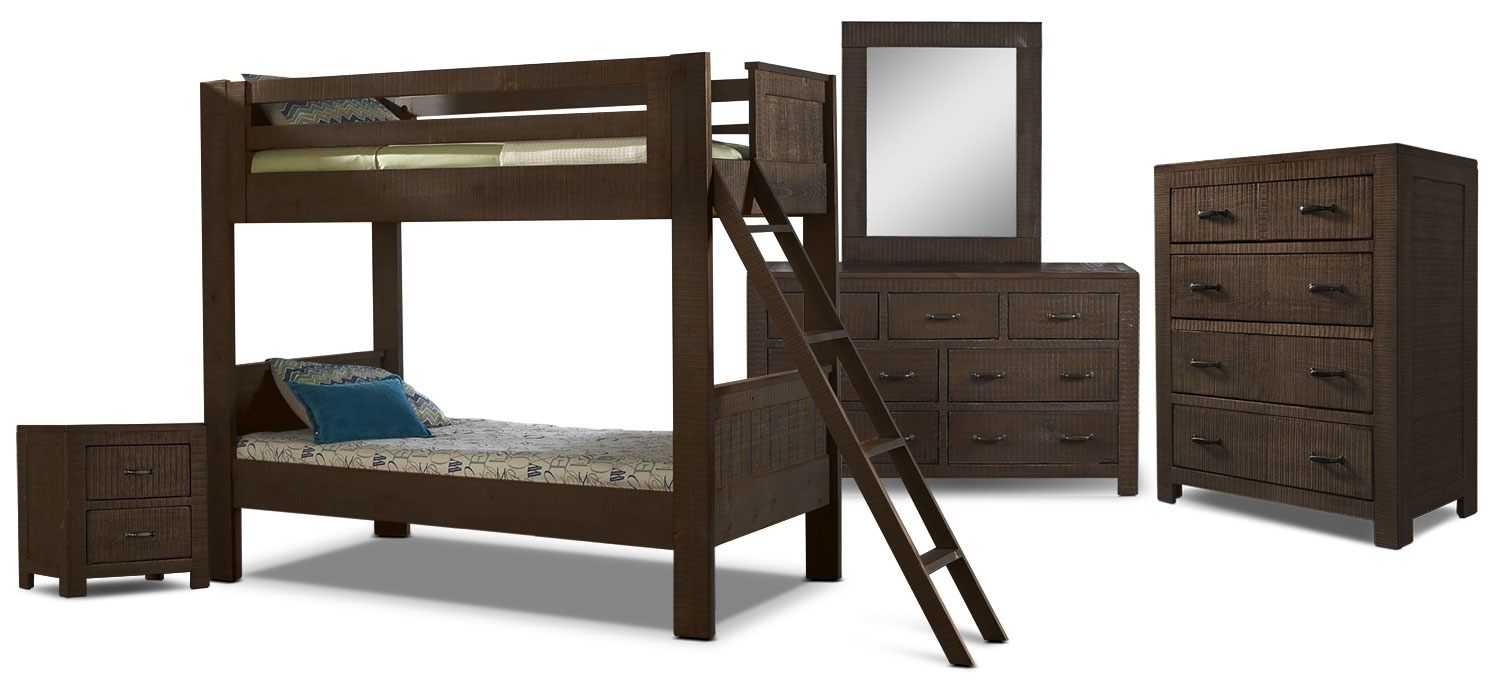 Kids Furniture - Phoenix 7-Piece Twin Bunkbed Bedroom Package - Walnut