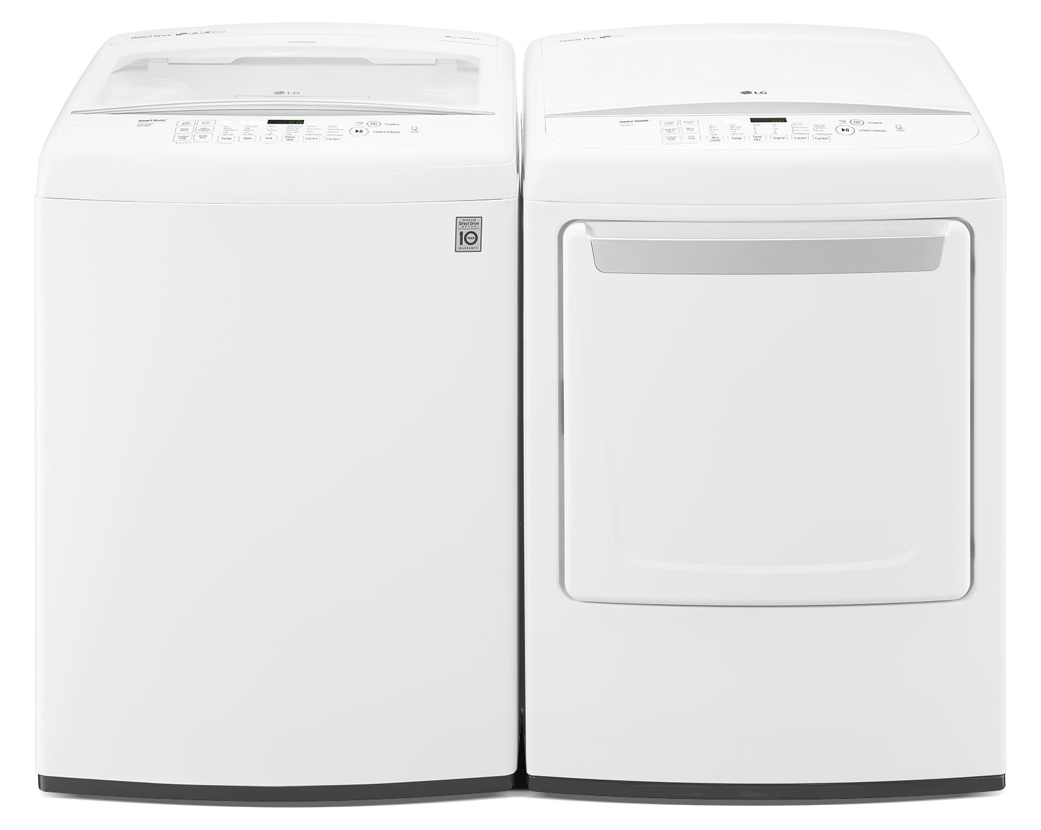 Washers and Dryers - LG 5.2 Cu. Ft. High-Efficiency Top-Load Washer and 7.3 Cu. Ft. Electric Dryer – White