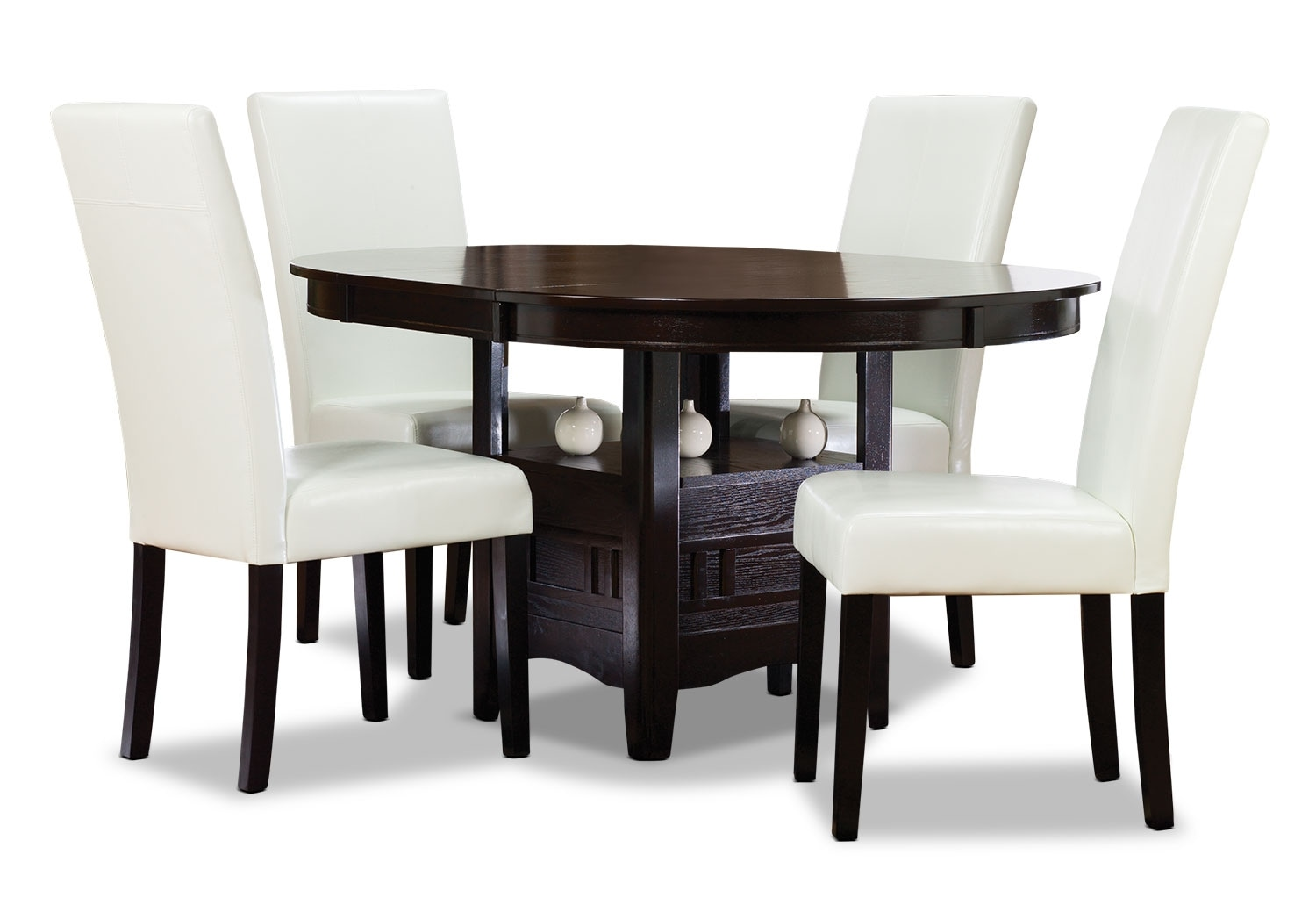 Dining Room Furniture - Dalton 5-Piece Chocolate Dining Package with White Chairs
