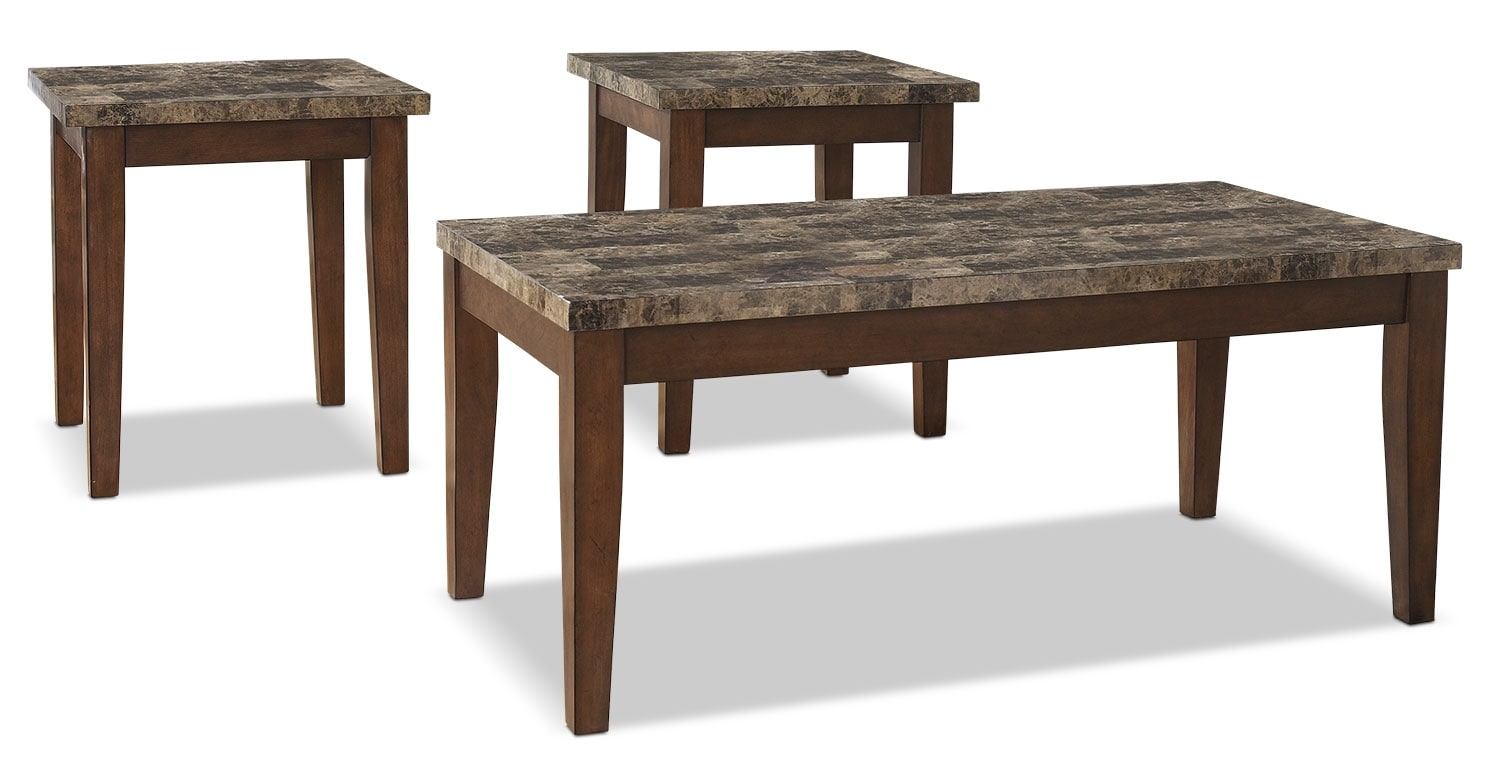 Accent and Occasional Furniture - Theo 3-Piece Coffee and Two End Tables Package