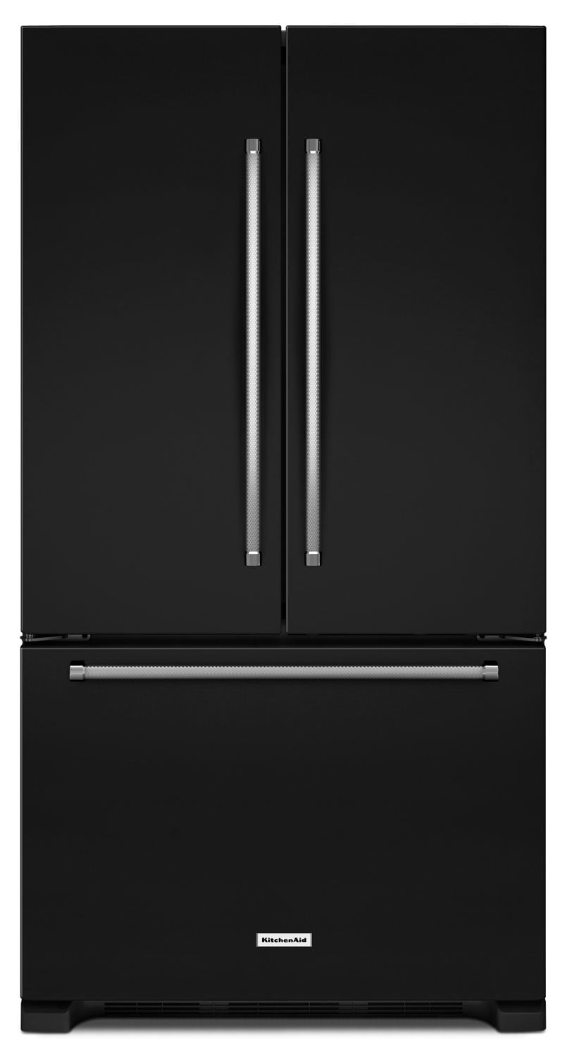 Refrigerators and Freezers - KitchenAid 20 Cu. Ft. French Door Refrigerator with Interior Dispenser - Black
