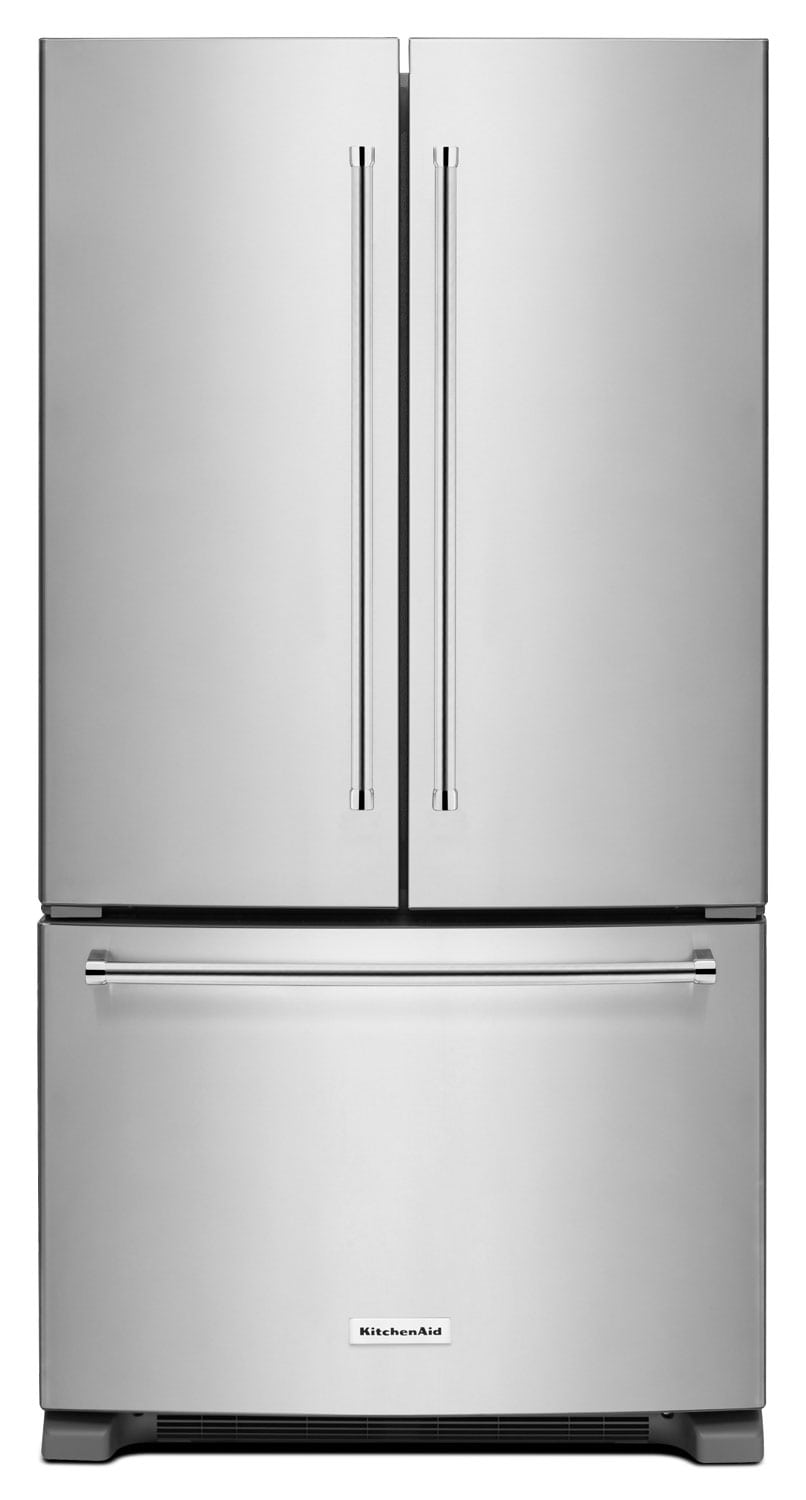 Refrigerators and Freezers - KitchenAid 20 Cu. Ft. French Door Refrigerator with Interior Dispenser - Stainless Steel