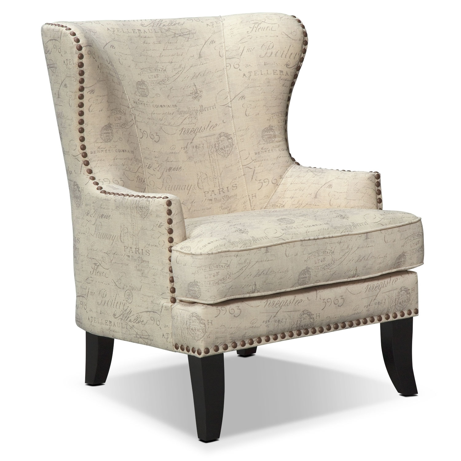 Marseille accent chair cream and black american for Living room accent chairs