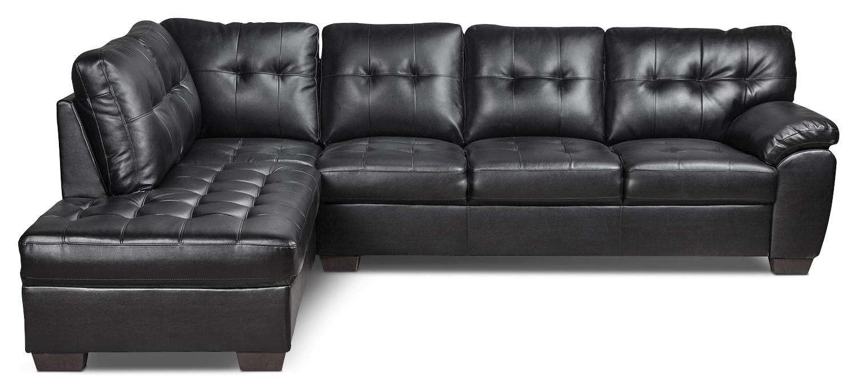 Living Room Furniture - Tobi Bonded Leather Left-Facing Sectional - Black