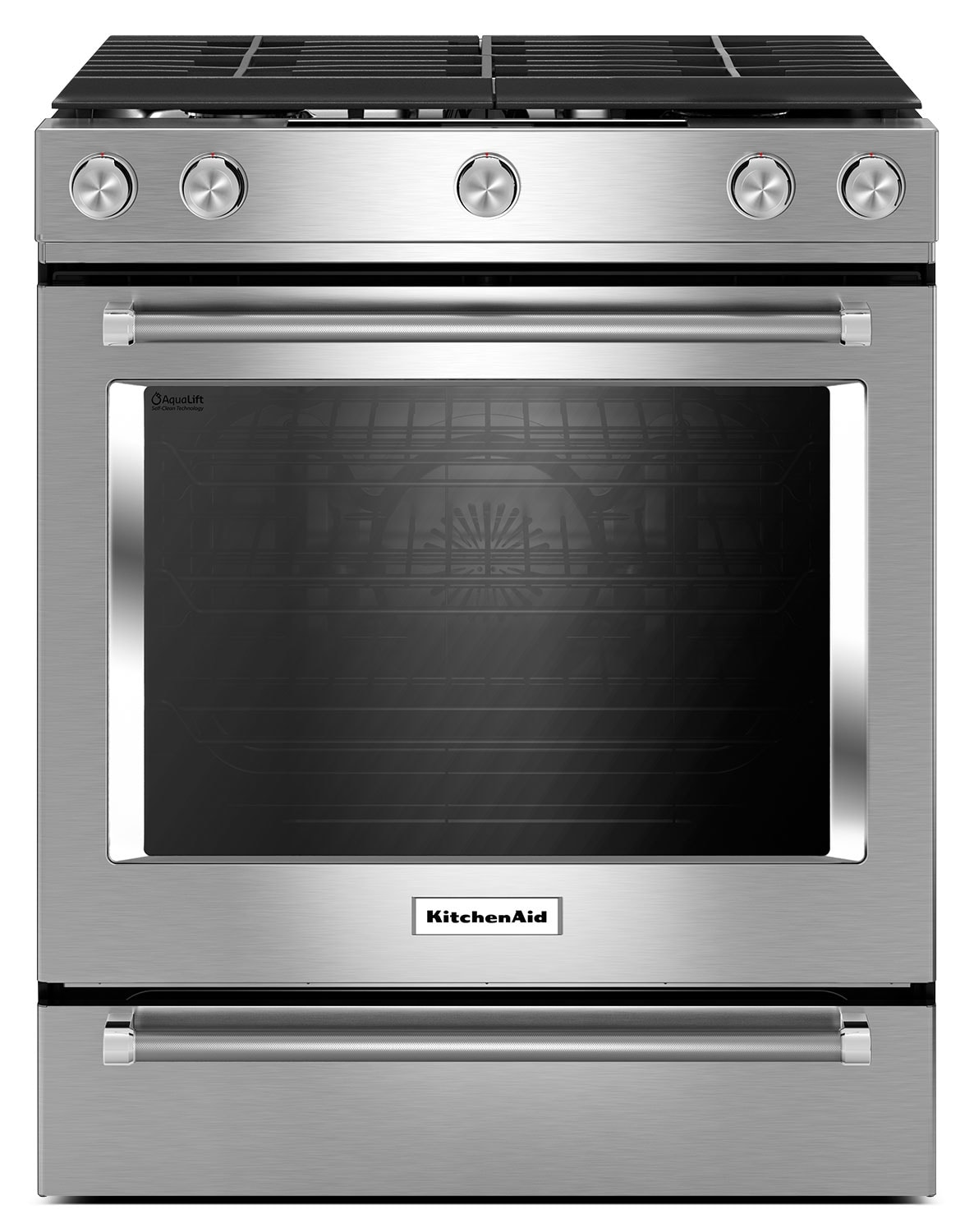 Cooking Products - KitchenAid 5.8 Cu. Ft. Slide-In Convection Gas Range – Stainless Steel