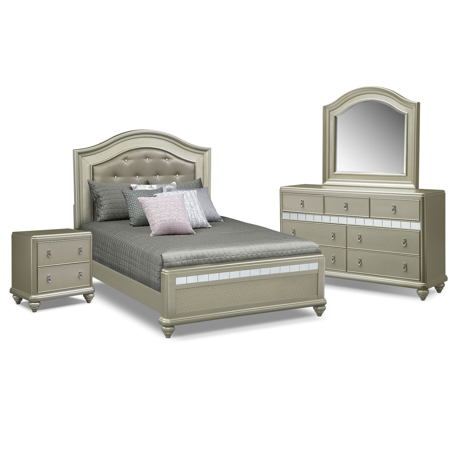 Serena queen 6 piece bedroom set platinum american for Bedroom 6 piece set