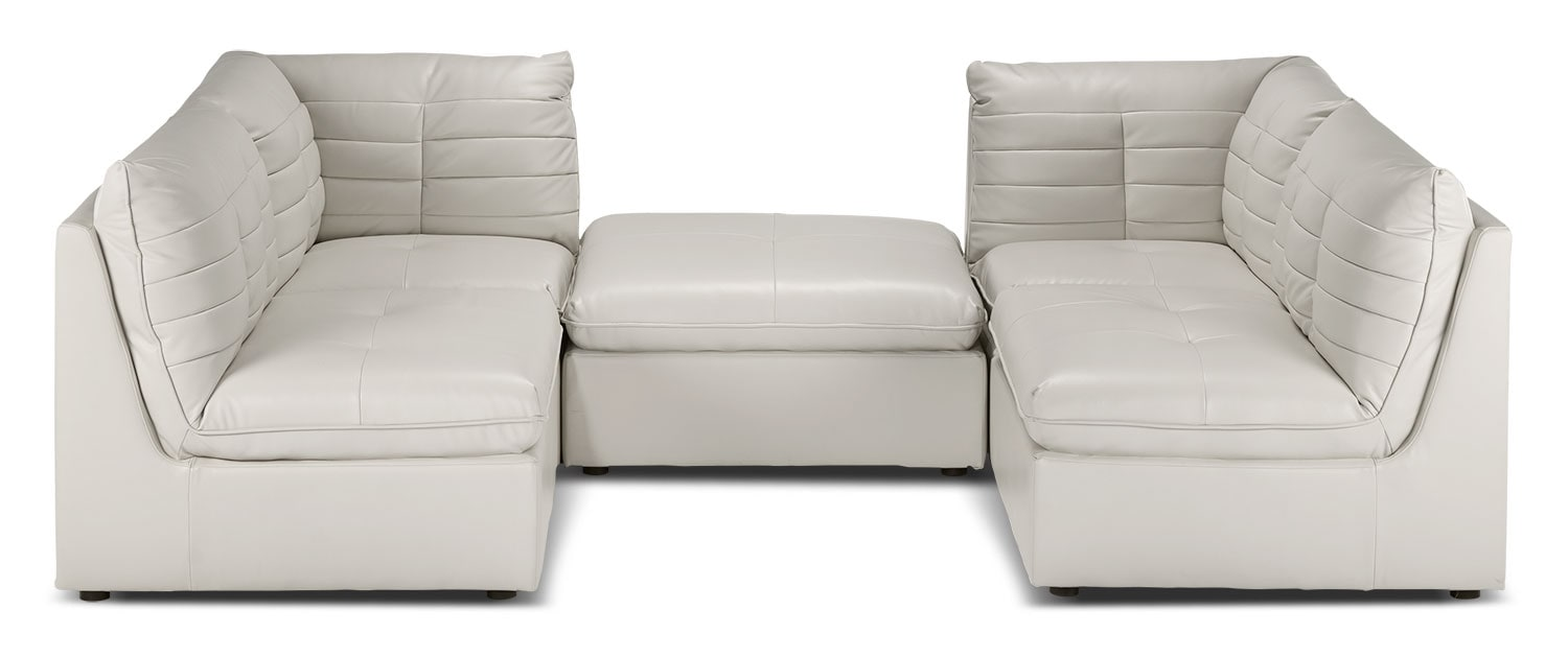 Cortina 5 piece sectional off white leon 39 s for 5 piece living room packages