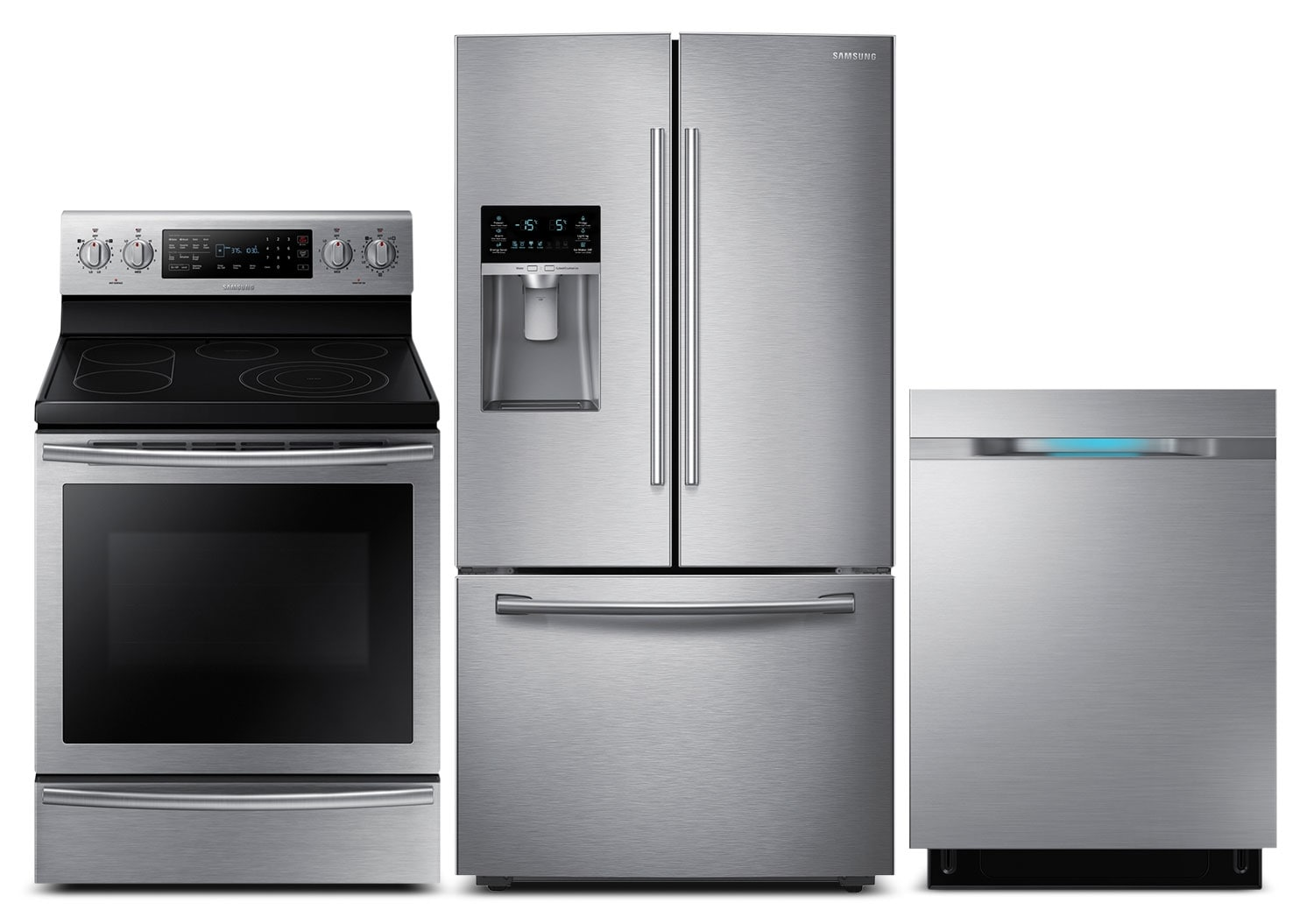 Refrigerators and Freezers - Samsung 28 Cu. Ft. Refrigerator, Electric Convection Range and Dishwasher - Stainless Steel