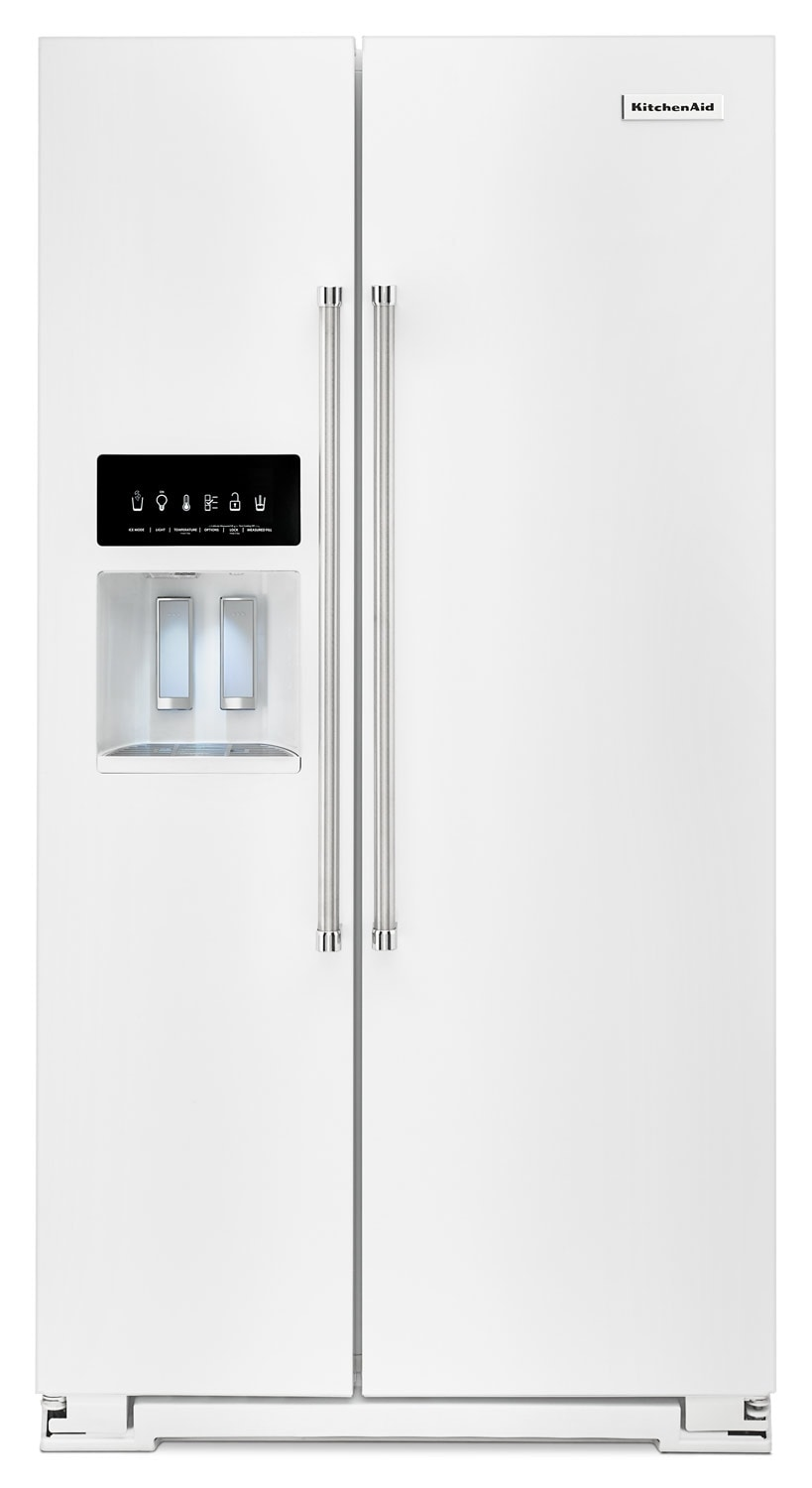 Refrigerators and Freezers - KitchenAid 24.8 Cu. Ft. Standard Depth Side-by-Side Refrigerator – White