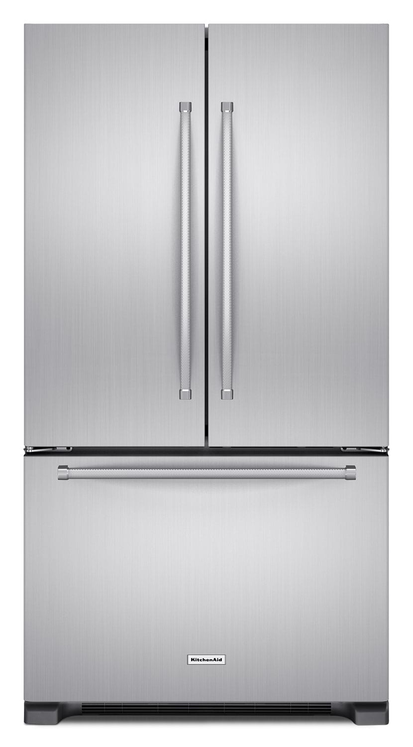 Refrigerators and Freezers - KitchenAid 22 Cu. Ft. French Door Refrigerator with Interior Dispenser - Stainless Steel