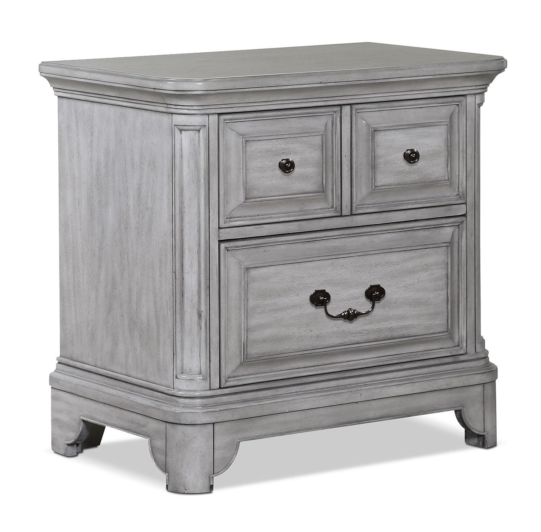 bedroom furniture tressa night table weathered grey