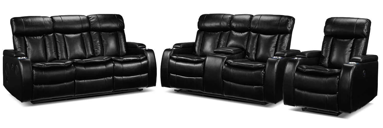 Executive Power Reclining Sofa, Reclining Loveseat and Recliner Set - Black