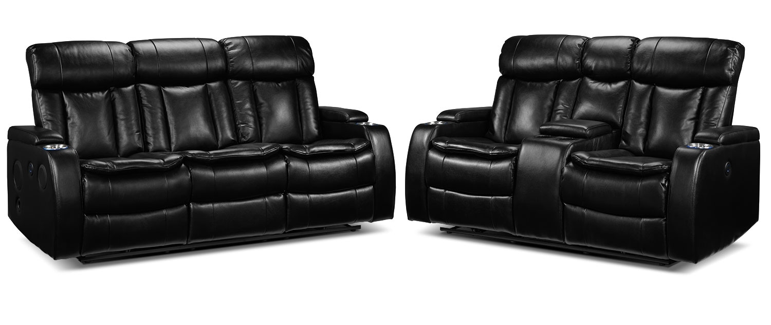 Executive Power Reclining Sofa and Reclining Loveseat Set - Black