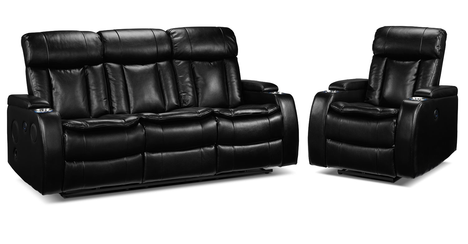 Executive Power Reclining Sofa and Recliner Set - Black