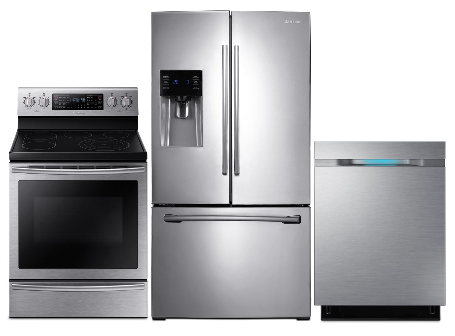 "Clean-Up - Samsung 26 Cu. Ft. Refrigerator, Flex Duo™ Electric Range and 24"" Dishwasher - Stainless Steel"