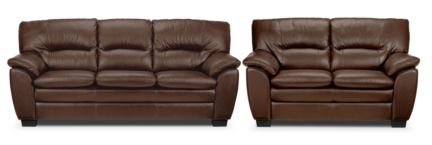 Rodero Sofa and Loveseat Set - Hazelnut